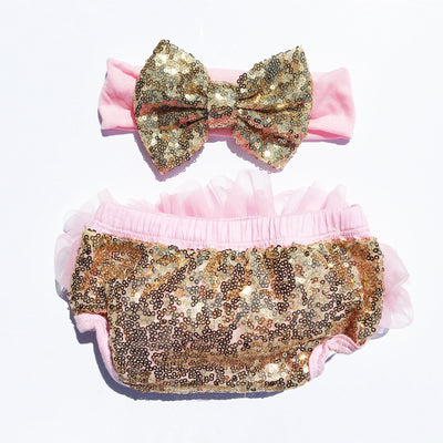 Pink/Gold Sequin Tutu Bloomers Set - Cassidy's Closet - 1