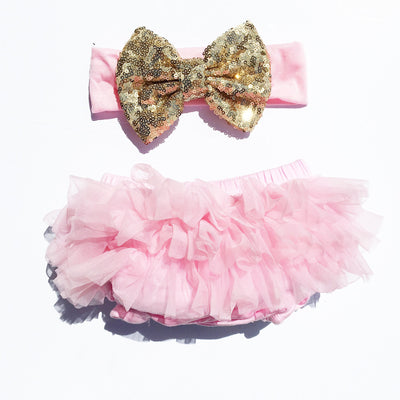 Pink/Gold Sequin Tutu Bloomers Set - Cassidy's Closet - 2
