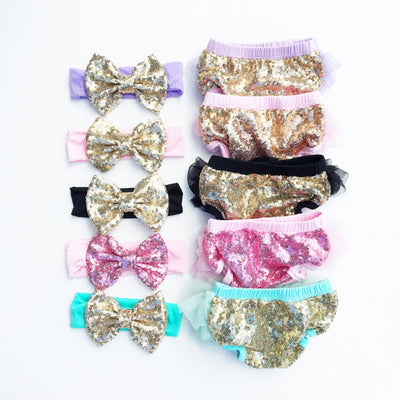 Pink/Gold Sequin Tutu Bloomers Set - Cassidy's Closet - 3