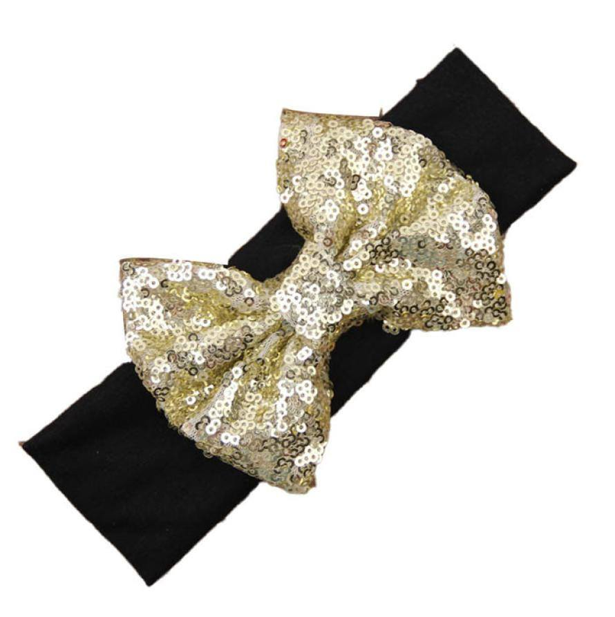 Black and Gold Sequin Bow Headband