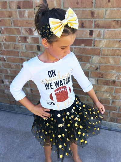 Gold Dotted Black Tutu Skirt | Girl's - Cassidy's Closet - 3