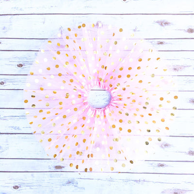 Gold Dotted Pink Tutu Skirt | Girl's - Cassidy's Closet - 1