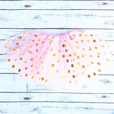 Gold Dotted Pink Tutu Skirt | Girl's - Cassidy's Closet - 2