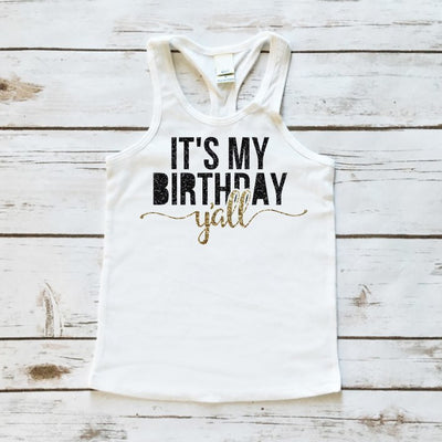 It's My Birthday Y'all Sparkle Tank Top - Tank Top - Cassidy's Closet