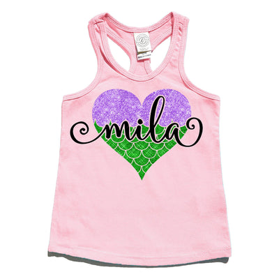 Tank Top - Mermaid At Heart Personalized Tank Top | Pink