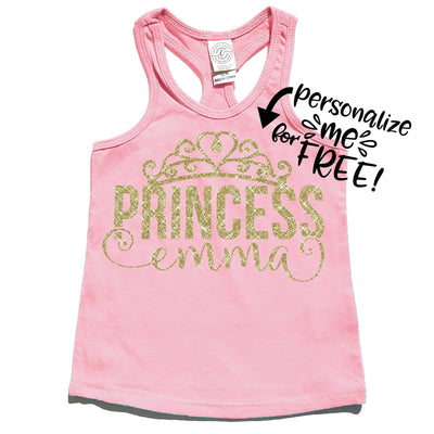 Tank Top - Princess Personalized Tank Top | Pink In Gold