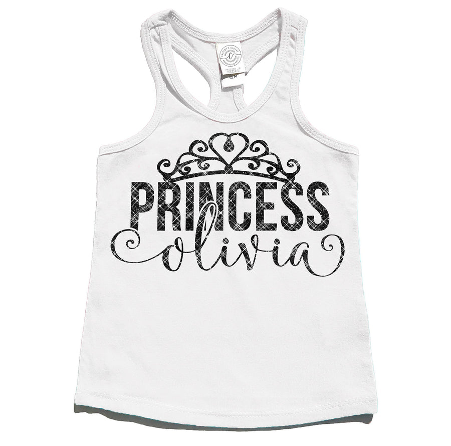 Princess Personalized Tank Top | White in Black