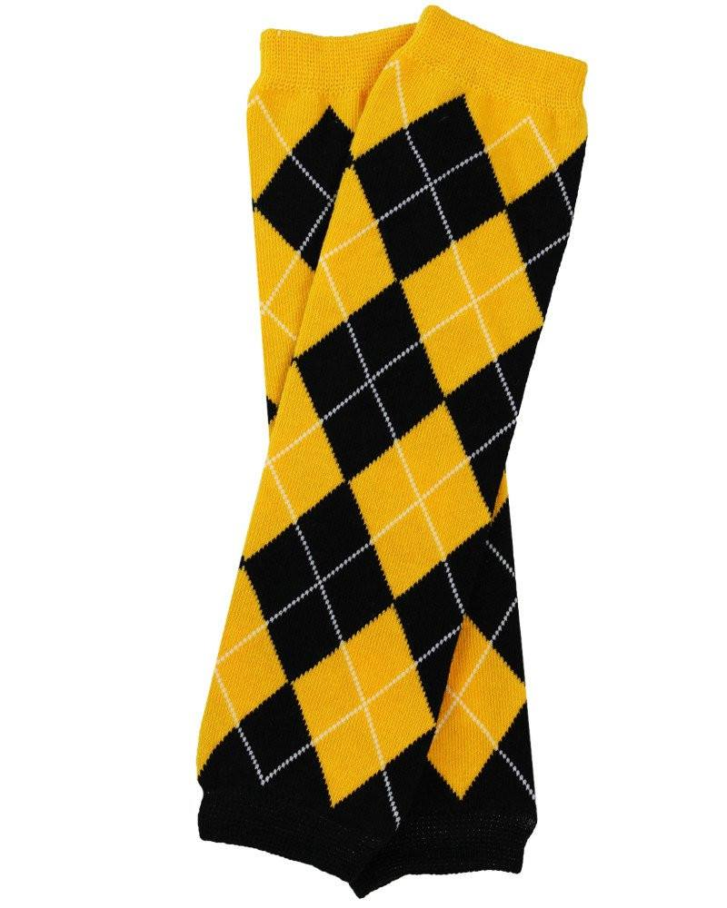 Team Black and Gold Argyle Leg Warmers - Cassidy's Closet