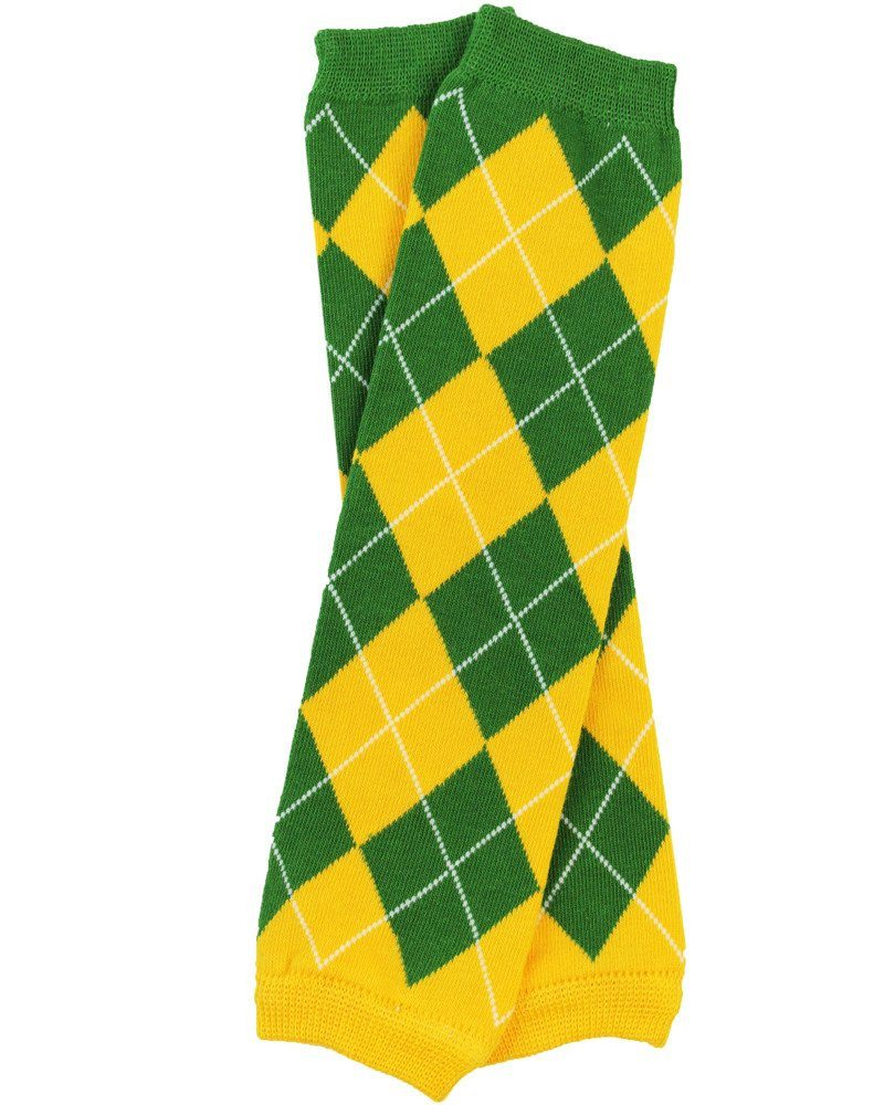 Team Green and Gold Argyle Leg Warmers - Cassidy's Closet