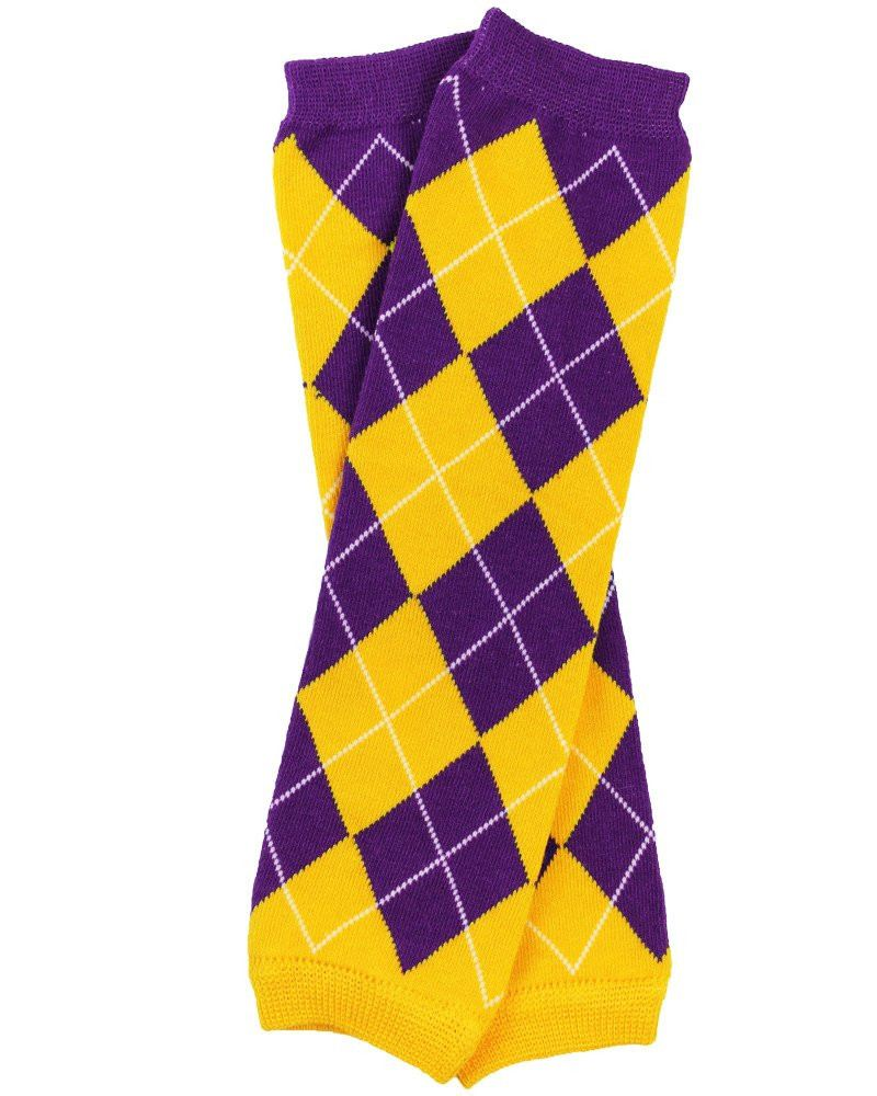 Team Purple and Gold Argyle Leg Warmers - Cassidy's Closet