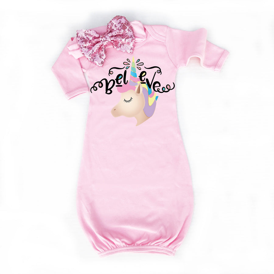 Unicorn Baby Gown | Pink