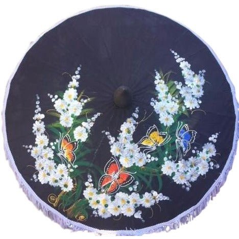 "Parasol Umbrella Medium Butterflies and Blossoms Painted on Black Fabric Parasol Bamboo 24"" length 26"" open"
