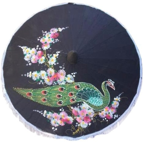 Parasol Umbrella Medium Peacock Painted on Black Fabric