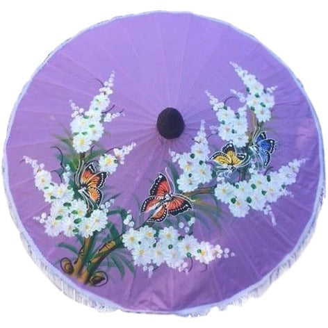 Parasol Umbrella Medium Butterflies and Blossoms Painted on Violet Fabric