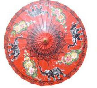 Parasol Umbrella Black Elephants on Vermillion THIS ITEM SHIPS BY 7/17