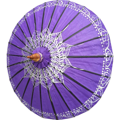 "Parasol Umbrella Silver Lotus on Purple Oiled Cotton Painted With Bamboo handle 24"" length - 28"" open sale"