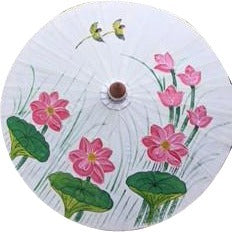 "Parasol Umbrella White with Lotus and Birds Oiled Cotton Painted With Bamboo handle 24"" length - 28"" open Sale"