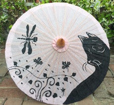 Parasol Umbrella Black Cat on Natural Oiled Cotton Painted With Bamboo handle sale