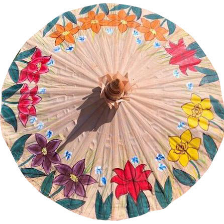 Parasol Umbrella Flowers on Natural Painted on Oiled Cotton