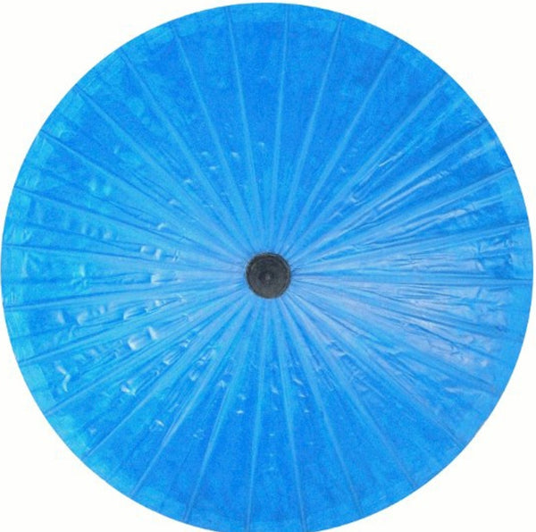 Parasol Umbrella Solid Blue Painted on Oiled Cotton