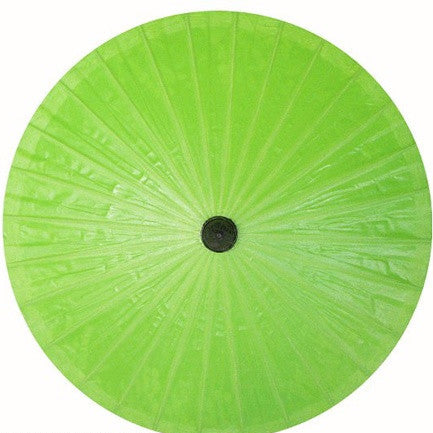 "Parasol Umbrella Solid Bright Green Oiled Cotton With Bamboo handle 24"" length - 28"" open"