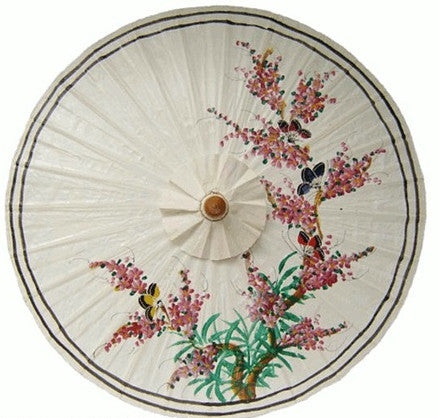 "Parasol Umbrella Butterflies and Blossoms on Off White Oiled Cotton Painted With Bamboo handle 24"" length - 28"" open"