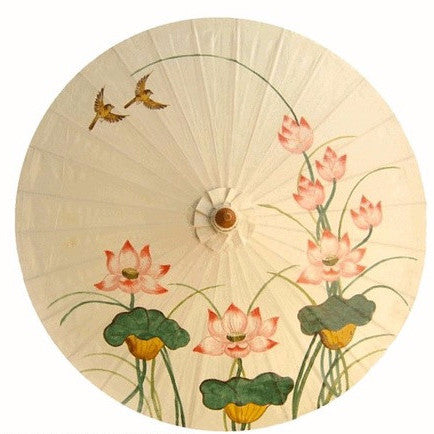 "Parasol Umbrella Off White with Lotus and Birds Oiled Cotton Painted With Bamboo handle 24"" length - 28"" open Sale"