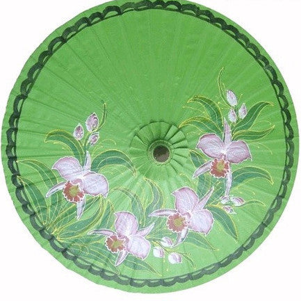 "Parasol Umbrella  Bright Green with Orchids Oiled Cotton Painted With Bamboo handle 24"" length - 28"" open"