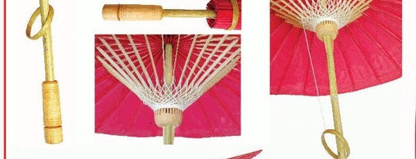 "Parasol Umbrella Yin Yang Oiled Cloth Painted With Bamboo handle 24"" length - 28"" open"