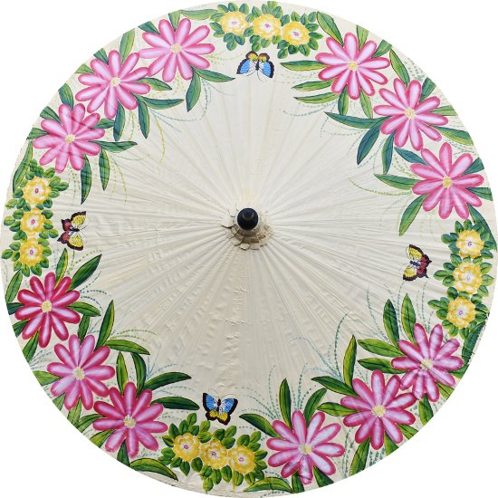 Parasol Umbrella Flowers and Butterflies