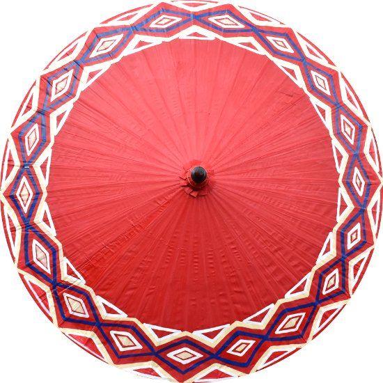 Parasol Umbrella Geometric Pattern on Red