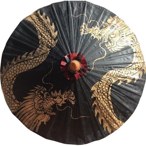 Parasol Umbrella Golden Dragon on Black THIS ITEM SHIPS BY 7/17