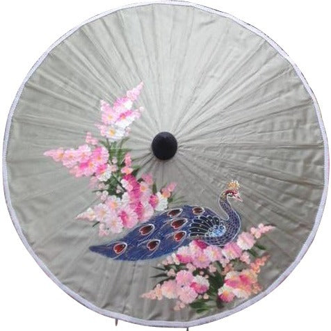 Parasol Umbrella Medium Peacock Painted on Grey/Silver Fabric