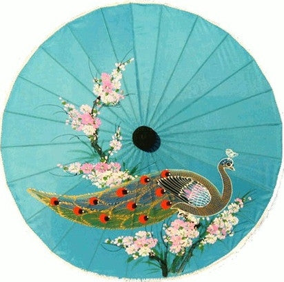"Parasol Umbrella Medium Peacock Painted on Sky Blue Fabric Parasol Bamboo handle 24"" length 26"" open"
