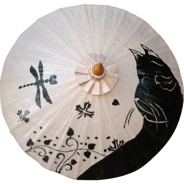 Parasol Umbrella Black Cat on Cream Painted on Oiled Cotton