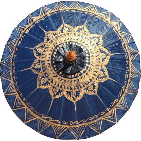 Parasol Umbrella Gold Lotus on Navy Painted on Oiled Cotton