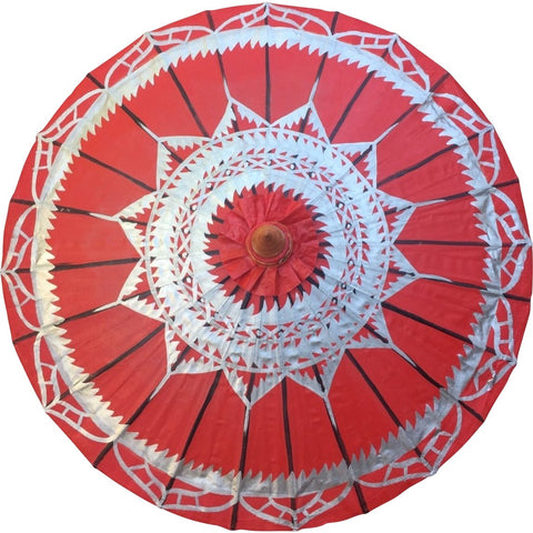 "Parasol Umbrella Silver Lotus on Red Oiled Cotton Painted With Bamboo handle 24"" length - 28"" open"