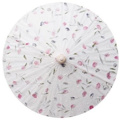 "Parasol Umbrella Large size Pressed Flower Paper Parasol off white c-mums Bamboo handle 24"" length - 28"" open"