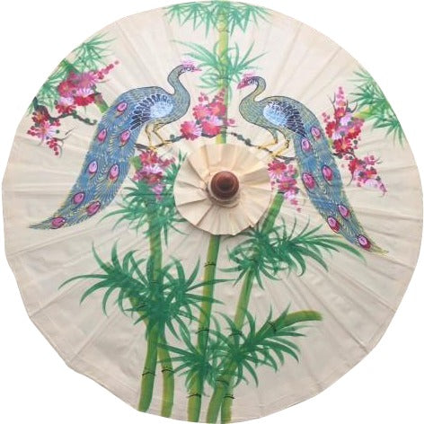 Parasol Umbrella  Bamboo, Tree and Peacocks on Creme Oiled Cotton Painted With Bamboo handle