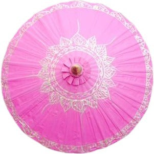 Parasol Umbrella Gold Lotus on Pink no lines Painted on Oiled Cotton