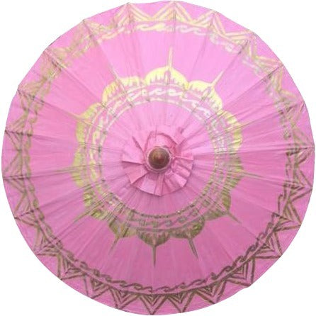 "Parasol Umbrella Gold Lotus on Fuchsia NO Lines Oiled Cotton Painted With Bamboo handle 24"" length - 28"" open"