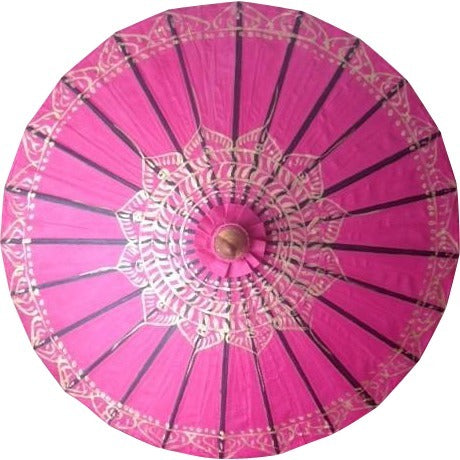 "Parasol Umbrella Gold Lotus on Fuchsia with Black lines Oiled Cotton Painted With Bamboo handle 24"" length - 28"" open"