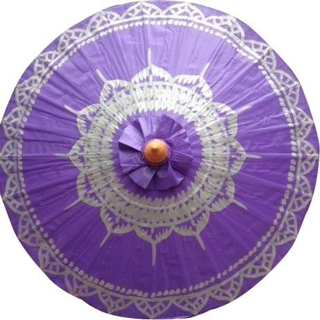 Parasol Umbrella Silver Lotus on Purple Painted on Oiled Cotton