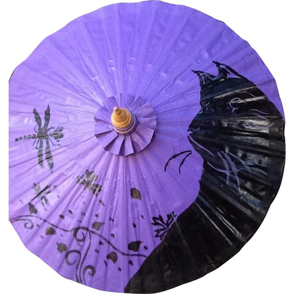 Parasol Umbrella Black Cat on Purple Oiled Cotton Painted With Bamboo handle