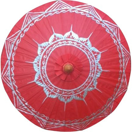 "Parasol Umbrella Silver Lotus on Red NO Lines Oiled Cotton Painted With Bamboo handle 24"" length - 28"" open"