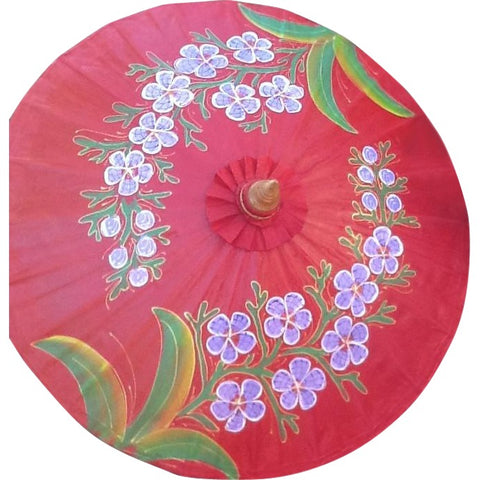 Parasol Umbrella Colorful Flowers on Vermillion Oiled Cotton Painted With Bamboo handle