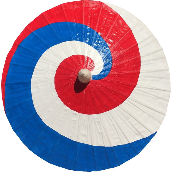 Parasol Umbrella Red, White and Blue Swirly Painted on Oiled Cotton
