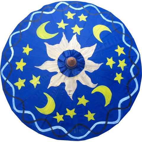 Parasol Umbrella Sun and Moons on Blue Oiled Cotton Painted With Bamboo handle