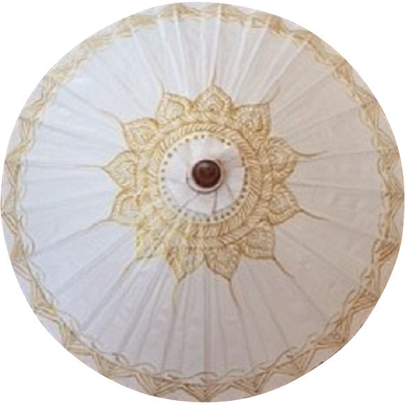 Parasol Umbrella Bright White with Gold Lotus on White Painted on Oiled Cotton
