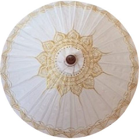 Parasol Umbrella Bright White with Gold Lotus on White THIS ITEM SHIPS BY 7/17